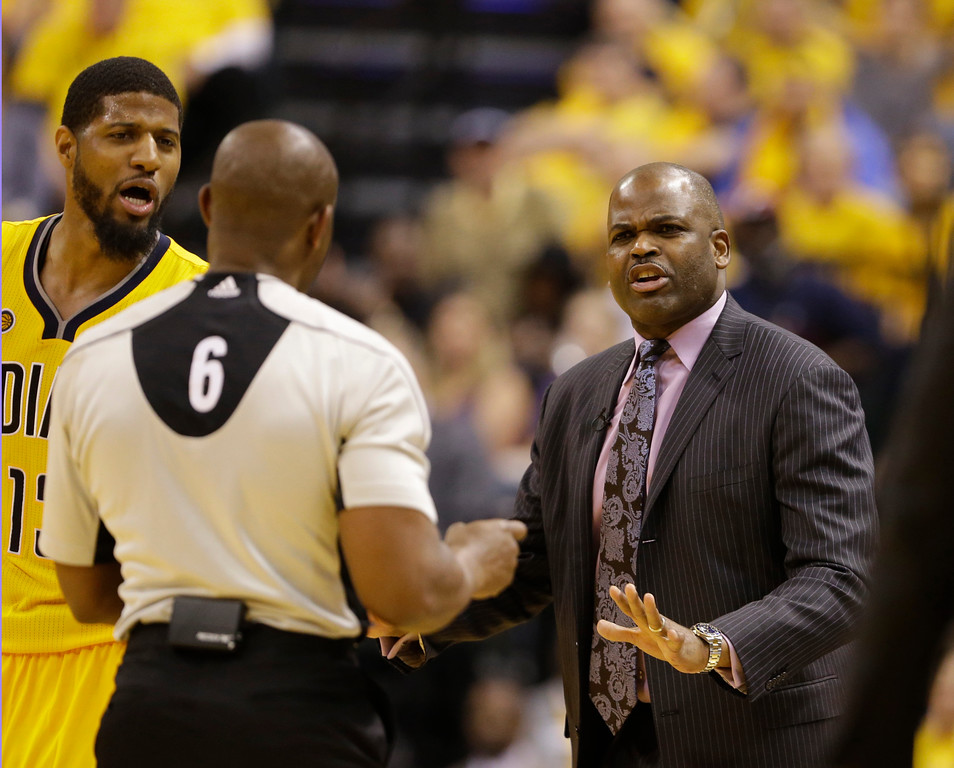 . Indiana Pacers coach Nate McMillan argues with referee Tony Brown (6) after McMillan was called for a technical foul during the second half in Game 3 of the team\'s first-round NBA basketball playoff series against the Cleveland Cavaliers, Thursday, April 20, 2017, in Indianapolis. (AP Photo/Michael Conroy)