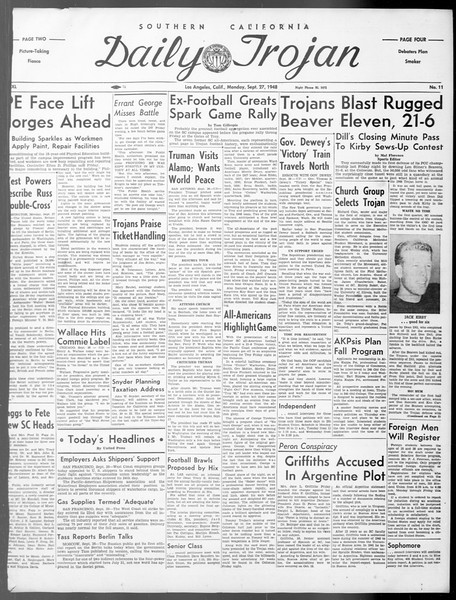 Daily Trojan, Vol. 40, No. 11, September 27, 1948