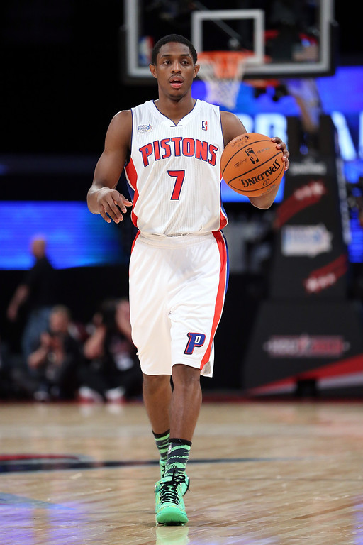 . HOUSTON, TX - FEBRUARY 15:  Brandon Knight #7 of the Detroit Pistons and Team Chuck moves the ball in the BBVA Rising Stars Challenge 2013 part of the 2013 NBA All-Star Weekend at the Toyota Center on February 15, 2013 in Houston, Texas.  (Photo by Ronald Martinez/Getty Images)