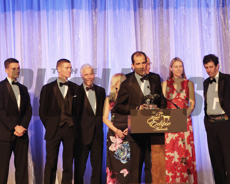 The team for Scorpiancer accepts the 2018 Award for outstanding Steeplechase Horse, 2018 Eclipse Awards, Gulfstream Park