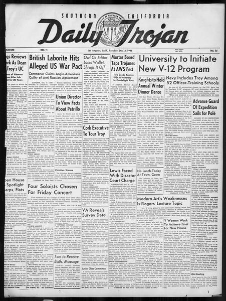 Daily Trojan, Vol. 38, No. 55, December 03, 1946