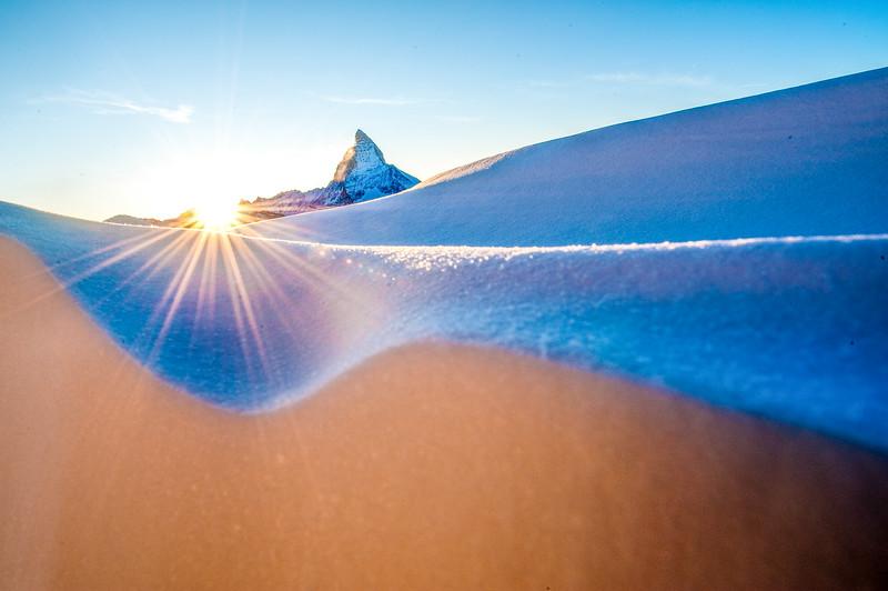Matterhorn in snowy mountain landscape