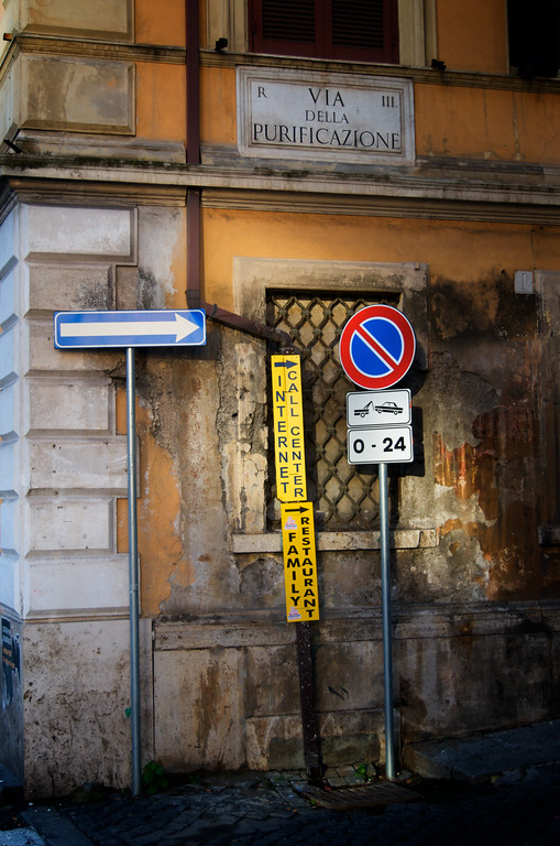 Old Building, New Signs - Rome, Italy