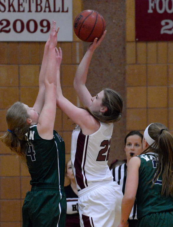 . THORNTON, CO - MARCH 01: Horizon Samantha Deem (22) takes a shot over Pine Creek Courtney Stanton (44) during the first quarter in the Girls Class 5A Sweet 16 game March 1, 2016 at Horizon HS. (Photo By John Leyba/The Denver Post)