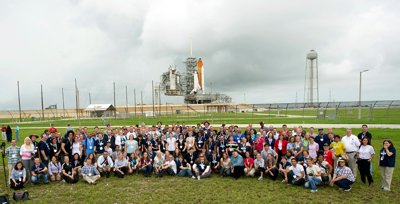 The Tweeps in front of Space Shuttle Atlantis on Launch Pad 39-A (Photo by Paul Alers for NASA)