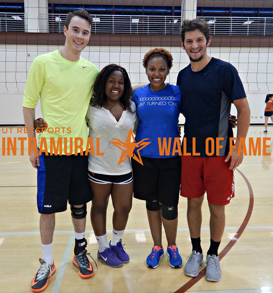SPRING VOLLEYBALL Runner Up  Smackin' Ballz  R1: Colin Kampfe, Bria Bennett, Audranna Pennamon, Brandon Caporale Not Pictured: Ryan Klepser