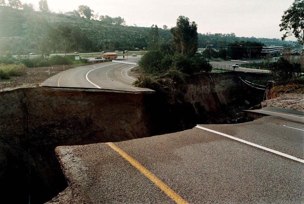 . A sinkhole which damaged an on-ramp to Interstate 15 in San Diego on February 24 continues to grow February 25. The hole was caused by a drainage pipe which burst due to heavy rains attributed to El Nino weather patterns and is approximately eight hundred feet long, forty feet wide, and seventy feet deep. Reuters