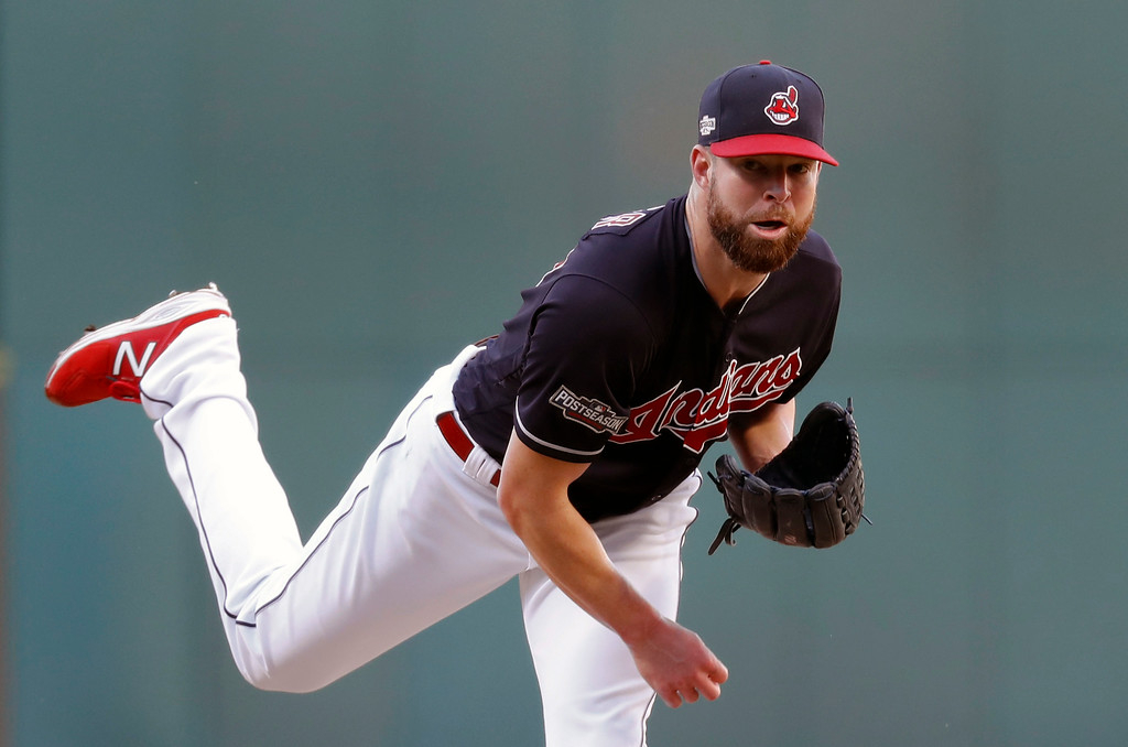 . Cleveland Indians pitcher Corey Kluber throws against the Boston Red Sox in the first inning during Game 2 of baseball\'s American League Division Series, Friday, Oct. 7, 2016, in Cleveland. (AP Photo/Paul Sancya, Pool)
