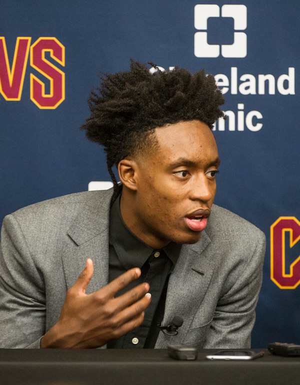 . Cleveland Cavaliers NBA basketball team first round draft selection, Collin Sexton, answers a question during a news conference at the Cavaliers training facility in Independence, Ohio, Friday, June 22, 2018. (AP Photo/Phil Long)