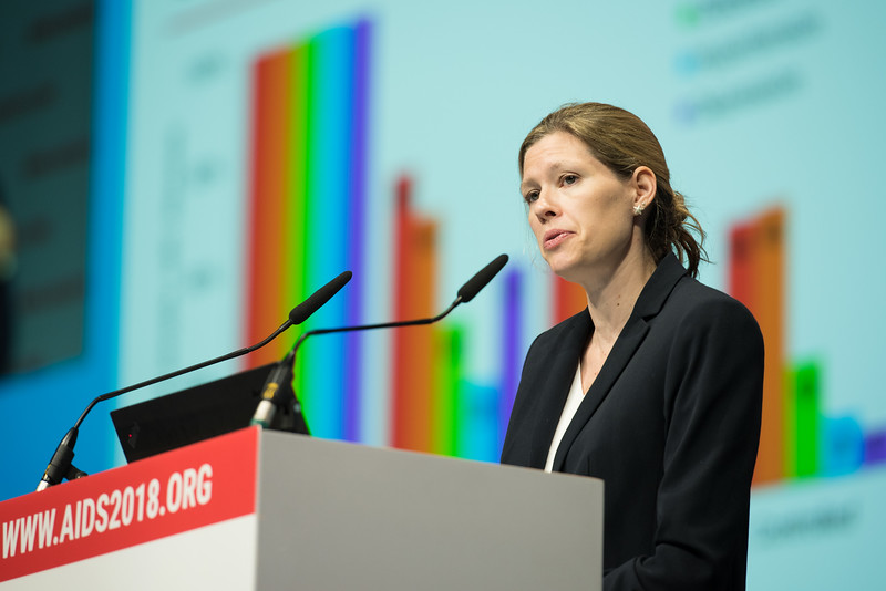 22nd International AIDS Conference (AIDS 2018) Amsterdam, Netherlands   Copyright: Marcus Rose/IAS  Photo shows: Plenary Session. Understanding the intersecting syndemics of communicable and non-communicable diseases Emily Hyle, Harvard University, United States