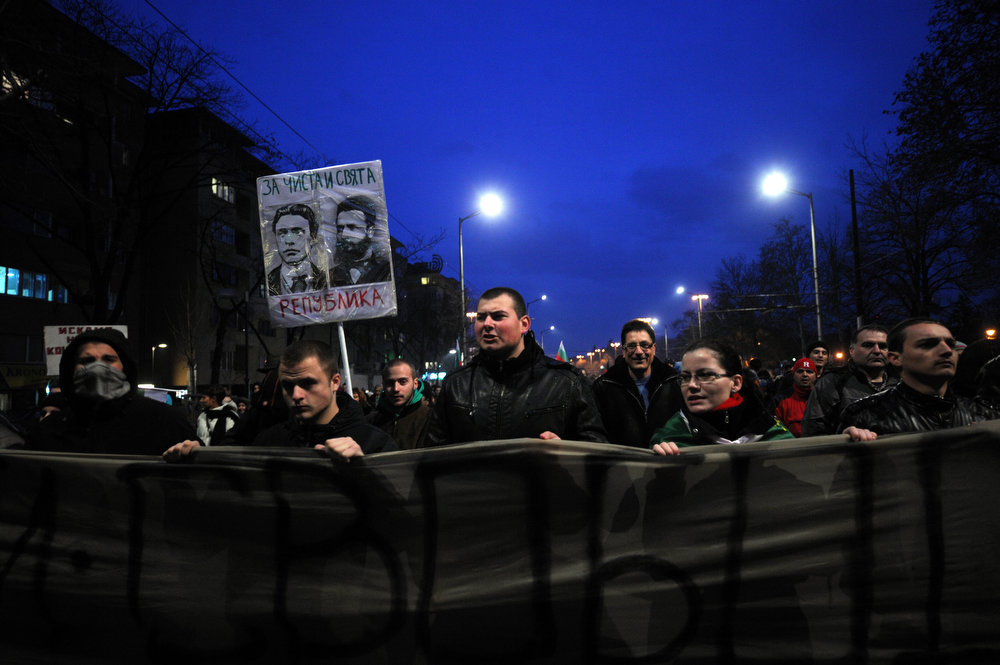 . People demonstrate against high electricity bills in Sofia, on February 20, 2013. Bulgaria\'s energy regulator postponed until April a decision on whether to revoke the distribution license of Czech state-run power giant CEZ amid violent street rallies against high bills, the regulator announced on February 20, 2013. NIKOLAY DOYCHINOV/AFP/Getty Images