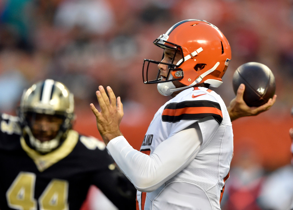 . Cleveland Browns quarterback Brock Osweiler (17) passes against the New Orleans Saints during the first half of an NFL preseason football game, Thursday, Aug. 10, 2017, in Cleveland. (AP Photo/David Richard)