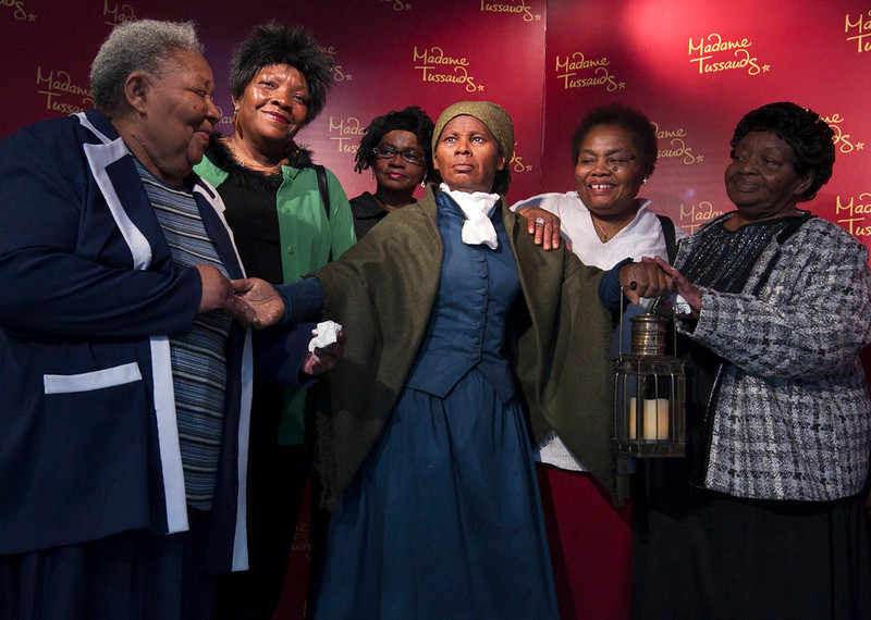 . Harriet Ross Tubman\'s great great nieces and oldest living descendants, from left, Valery Ross Manokey, 76, of Cambridge, Md.; Peggy Ross, 60, of Cambridge, Md.; Delphine Slaughter, 62, of Hurlock, Md., adopted; Barbara Ross Stanley, 70, of Columbus, Ohio; and Bernice Ross Carney, 74, of Denton, Md.; gather around with a wax likeness of the renowned abolitionist and conductor of the Underground Railroad, at the Presidents Gallery by Madame Tussauds in Washington during the unveiling of the wax figure in celebration of Black History Month, Tuesday, February 7, 2012.  (AP Photo/Manuel Balce Ceneta)