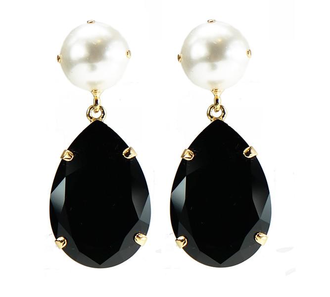 Perfect Drop Earrings / Pearl + Jet