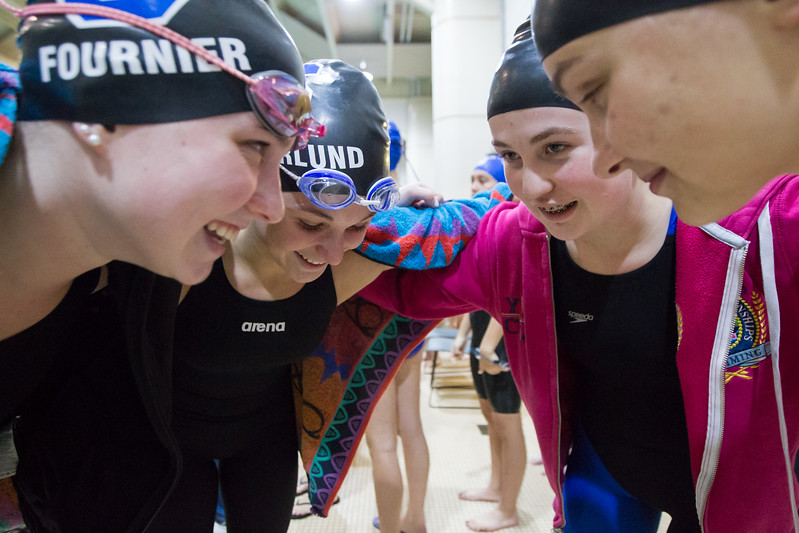Southington's 200 medley relay team of Olivia Fournier left Meghan Hammarlund, Madeline Symecko and Julie Duszak huddle before the start  Tuesday during the CIAC Class LL swimming finals at the Freeman Athletic Center Natatorium on the campus of Wesleyan University in Middletown November 14, 2017 | Justin Weekes / For the Record-Journal