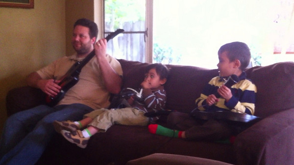 Boys Rocking Out to Guitar Hero