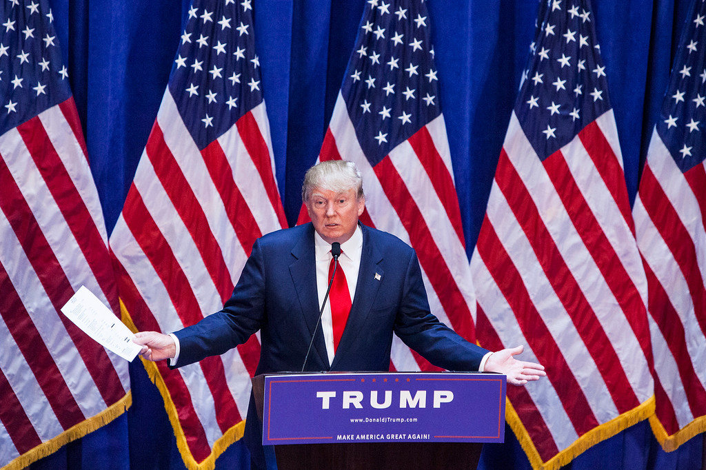 . Business mogul Donald Trump gives a speech as he announces his candidacy for the U.S. presidency at Trump Plaza on June 16, 2015 in New York City.  Trump is the 12th Republican who has announced running for the White House.  (Photo by Christopher Gregory/Getty Images)