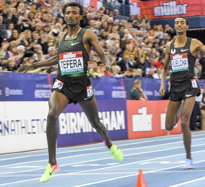 Samuel Tafera the 22 year old Etheopian breaks the World Indoor 1500 metre record clocking a time of 3:31.04 to break El Guerrouj's 1997 mark of 3:31.18