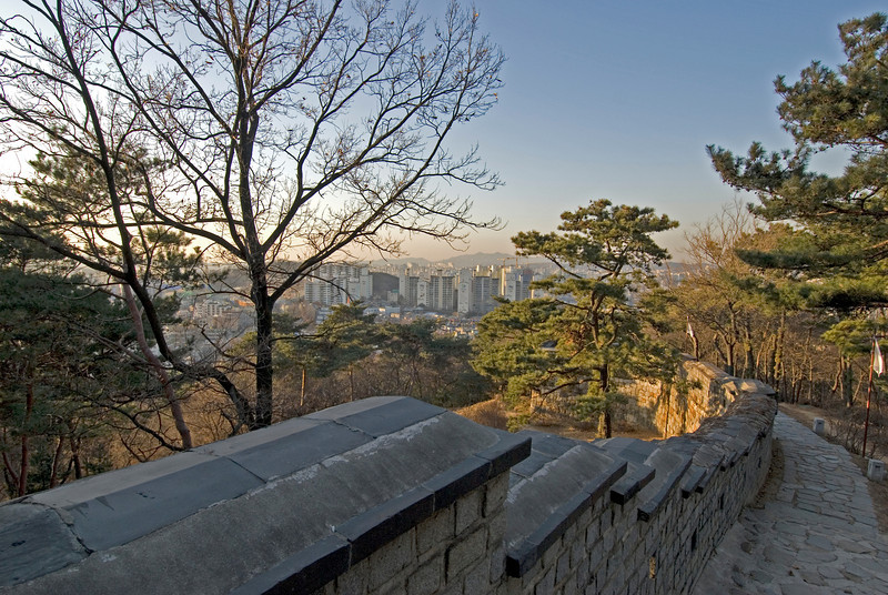 Overlooking view of the city skyline from the Hwaseong Fortress - South Korea