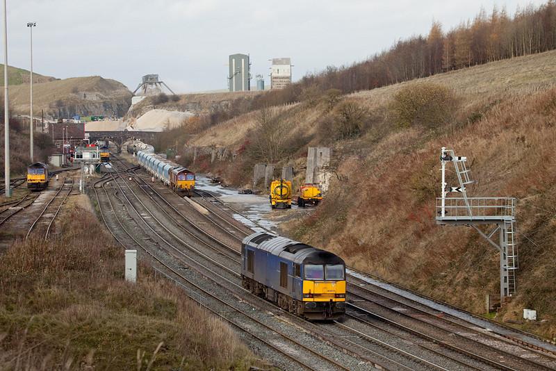EWS 66150 and 60011 in Peak Dale.
