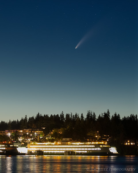 Comet NEOWISE over Washington State Ferry on Bainbridge Island.