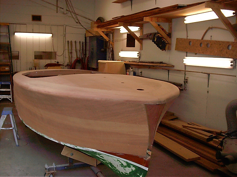 Front starboard view of sanded cover board and sanded deck.