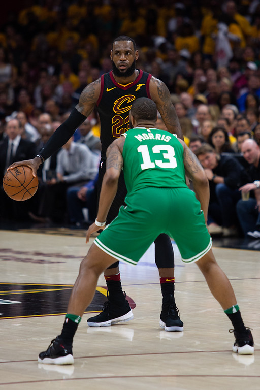. Michael Johnson - The News-Herald LeBron James sizes up Marcus Morris during game 3 of the Eastern Conference finals on May 19, 2018.