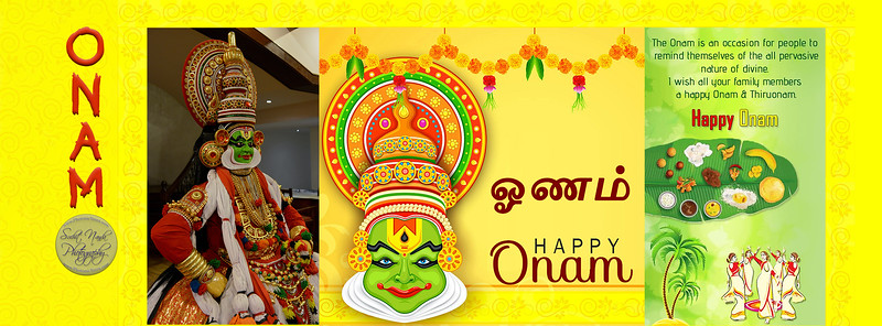 HAPPY ONAM Onam is an occasion for people to remind themselves of the all pervasive nature of divine. Wish you all a Happy Onam & Thiruonam.  According to legends, the festival is celebrated to commemorate King Mahabali, whose spirit is said to visit Kerala at the time of Onam.