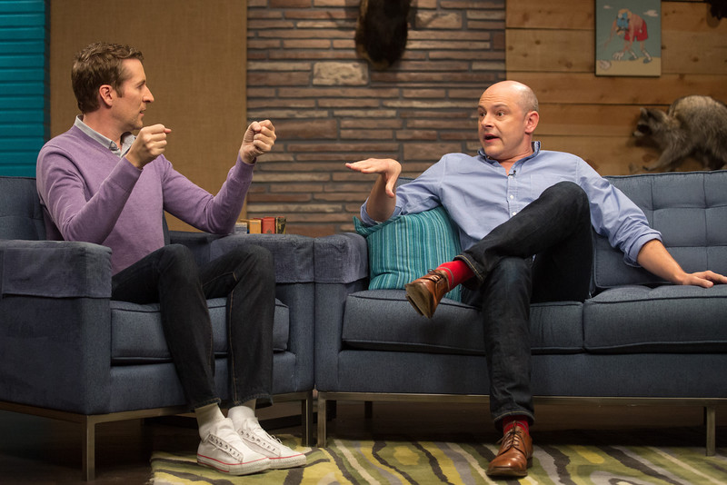 . Scott Aukerman and Rob Corddry in Comedy Bang! Bang! (Photo by Chris Ragazzo/IFC©2014)