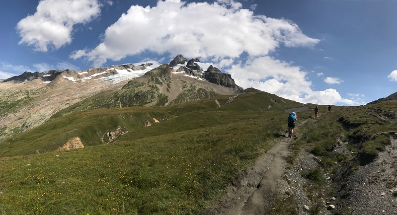 Day 4: Hiked into Italy under the dramatic south face of Mont Blanc.