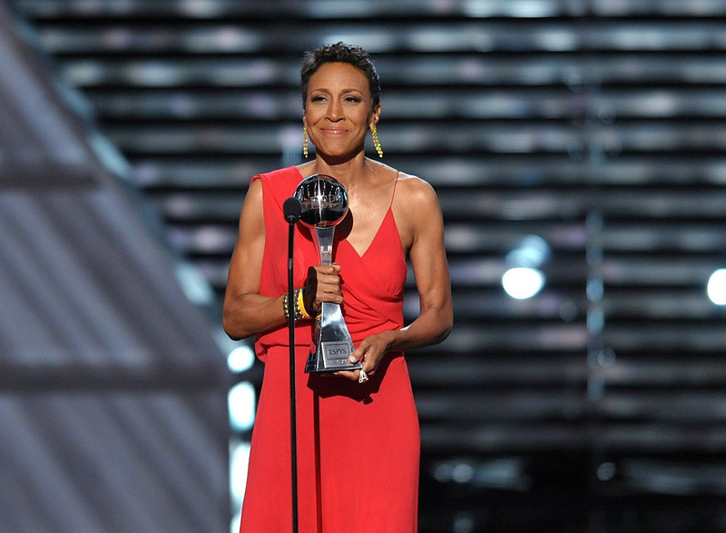 . Robin Roberts accepts the Arthur Ashe courage award at the ESPY Awards on Wednesday, July 17, 2013, at Nokia Theater in Los Angeles. (Photo by John Shearer/Invision/AP)