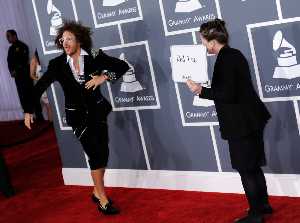 Description of . Red Foo arrives to  the 55th Annual Grammy Awards at Staples Center  in Los Angeles, California on February 10, 2013. (Michael Owen Baker, staff photographer)