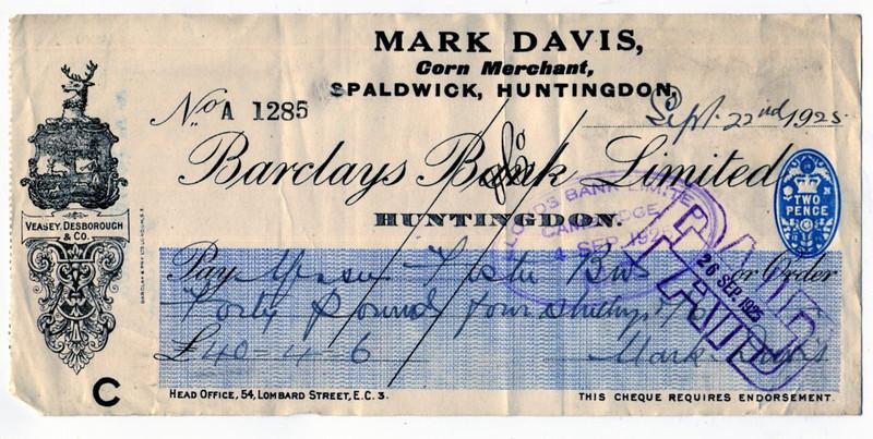 Mark Davis cheque Provided by Elizabeth Smith