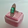 4.05ct Emerald and Old European Cut Diamond Ring 14