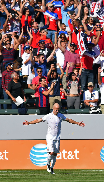 . Michael Bradley celebrates his goal with the fans at the StubHub Center in Carson, CA on Sunday, February 8, 2015. US men\'s national team vs Panama in an international friendly soccer match. 1st half. (Photo by Scott Varley, Daily Breeze)
