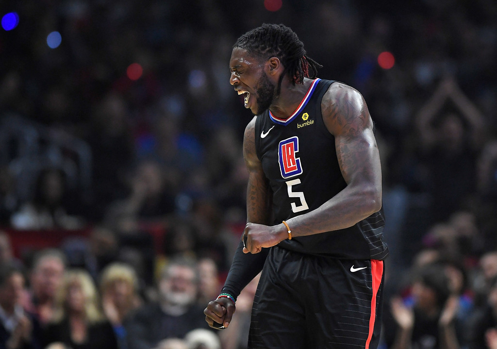 . Los Angeles Clippers forward Montrezl Harrell celebrates after scoring and drawing a foul during the first half of the team\'s NBA basketball game against the Cleveland Cavaliers, Friday, March 9, 2018, in Los Angeles. (AP Photo/Mark J. Terrill)