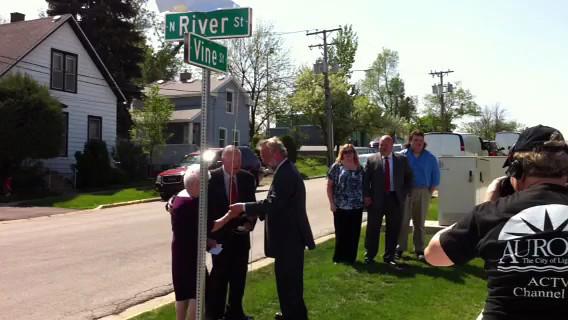 Vine Street dedication to retired Aurora Police Chief Robert Brent at 350 N. River Street in Aurora, IL 5-16-13