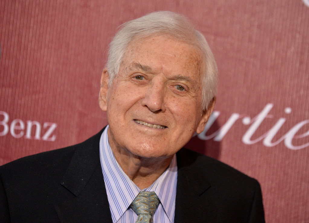""". FILE - In this Jan. 4, 2014 file photo, Monty Hall arrives at the Palm Springs International Film Festival Awards Gala at the Palm Springs Convention Center in Palm Springs, Calif. Former \""""Let\'s Make a Deal\"""" host Hall has died after a long illness at age 96. His daughter Sharon Hall says he died Saturday, Sept. 30, 2017, at his home in Beverly Hills, Calif.  (Photo by Jordan Strauss/Invision/AP, File)"""