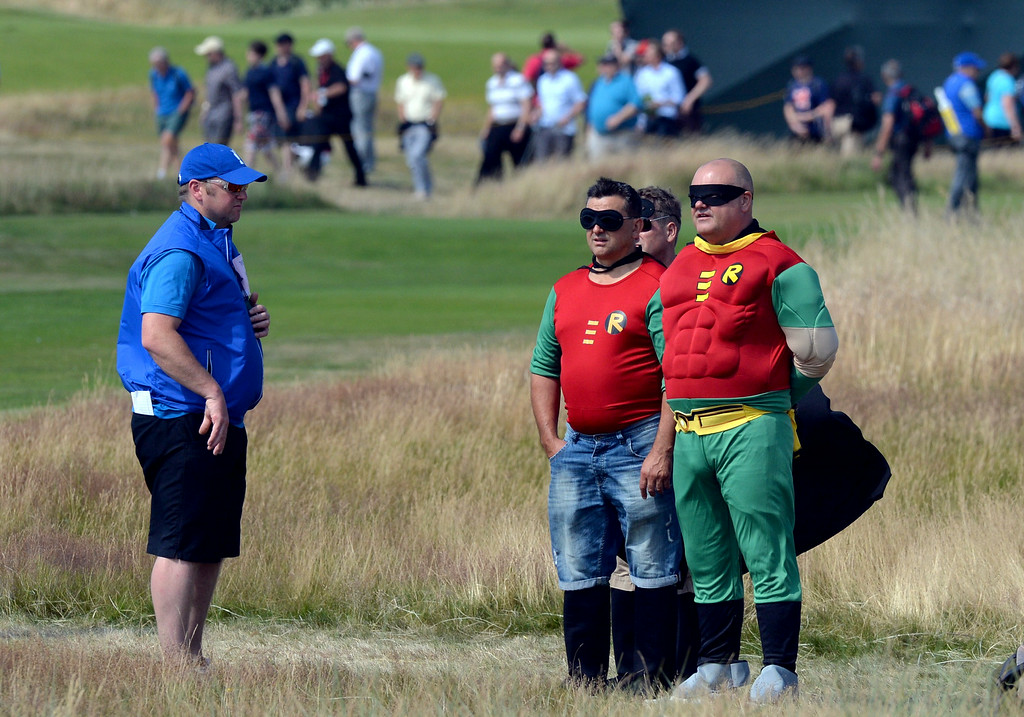 . Spectators wearing fancy dress on the course on day two of the 2014 British Open Golf Championship at Royal Liverpool Golf Course in Hoylake, north west England on July 18, 2014. PAUL ELLIS/AFP/Getty Images