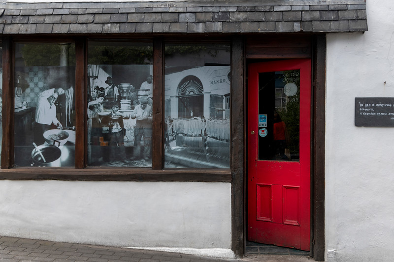 Vintage photograph on caf� window, Kinsale, County Cork, Ireland