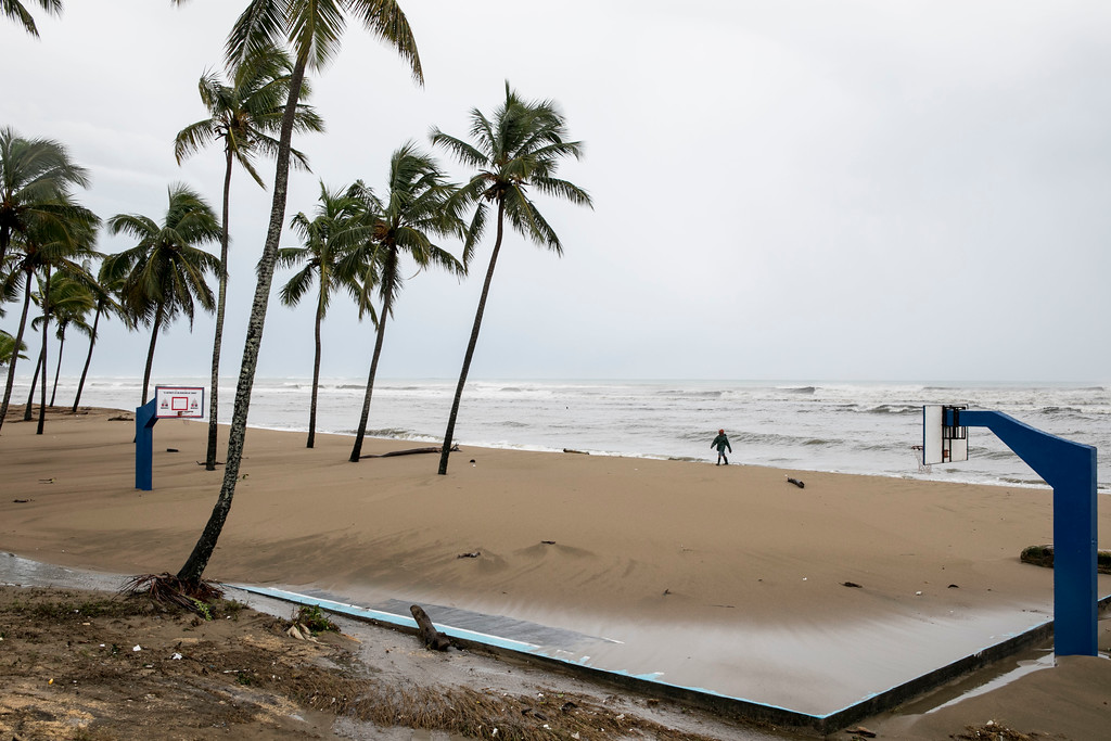 . A basketball court is blanketed in sand in the aftermath of Hurricane Irma in Nagua, Dominican Republic, Thursday, Sept. 7, 2017. Irma cut a path of devastation across the northern Caribbean, leaving thousands homeless after destroying buildings and uprooting trees. Irma is flooded parts of the Dominican Republic when it roared by just off the northern coast of the island it shares with Haiti. (AP Photo/Tatiana Fernandez)