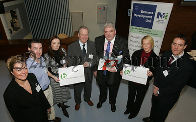 Pictured at the launch of the Business Support Club at Newry institute are, Nicola Whyte (FM Environmental), Kevin McShane (Congress), Claire Byrne, Dr Raymond Mullan, Fergal McCormack (FPM Accountancy), Emma McKernan and Graham Crawford (McAllister Bros). 07W5N13