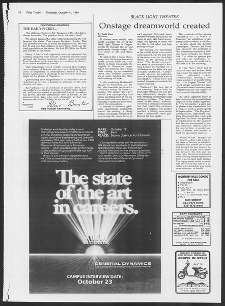 Daily Trojan, Vol. 97, No. 28, October 11, 1984