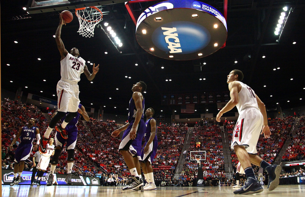 . Rondae Hollis-Jefferson #23 of the Arizona Wildcats goes up for a shot against the Weber State Wildcats during the second round of the 2014 NCAA Men\'s Basketball Tournament at Viejas Arena on March 21, 2014 in San Diego, California.  (Photo by Donald Miralle/Getty Images)