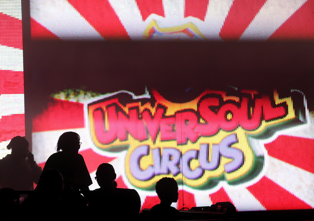 . Adults and children watch the UniverSoul Circus perform under the big top on Hegenberger Road in Oakland, Calif., on Friday, April 5, 2013.  (Jane Tyska/Staff)