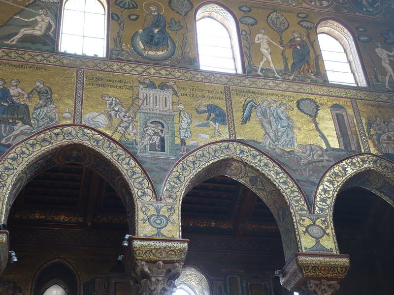 Mosaic detail -- God gives Adam Garden of Eden (upper right)