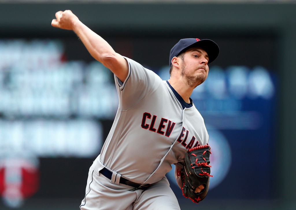 . Cleveland Indians pitcher Trevor Bauer throws against the Minnesota Twins in the first inning of a baseball game Thursday, April 20, 2017, in Minneapolis. (AP Photo/Jim Mone)