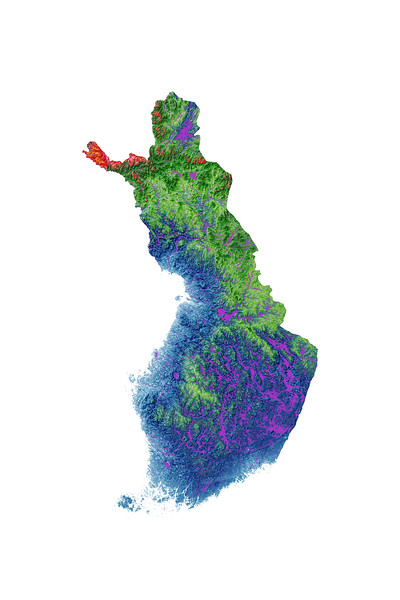 Elevation map of Finland