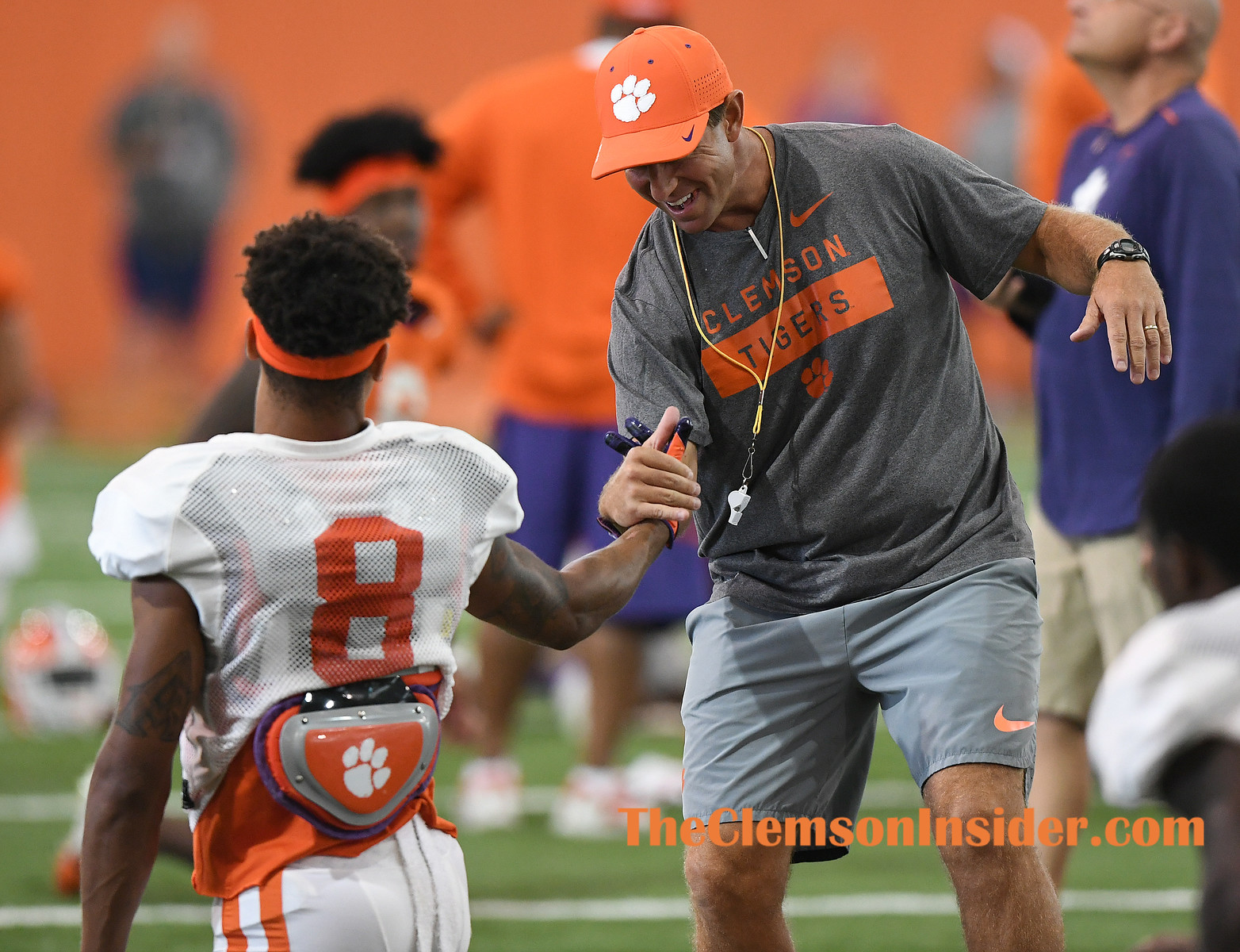 Clemson head coach Dabo Swinney and defensive back A.J. Terrell (8)  during the Tiger's practice Tuesday, August 20, 2019. Bart Boatwright/The Clemson Insider