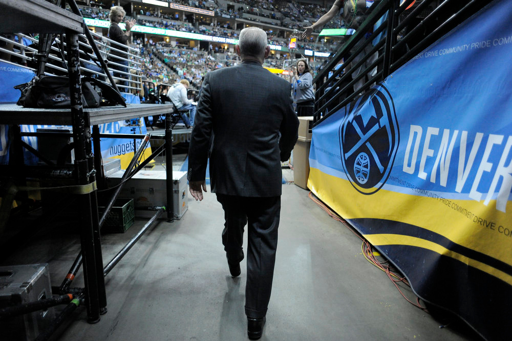 . Denver Nuggets head coach George Karl heads to the court  for their game against the Boston Celtics Monday, March 17, 2012 at Pepsi Center.  John Leyba, The Denver Post
